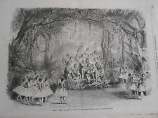 Gravure 1869 - Théatre opéra La Chatte Blanche grande féerie Les Oiseaux