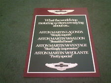 1984 1985 ASTON MARTIN PRESS COMMENTS V8 VANTAGE VOLANTE LAGONDA - UK BROCHURE