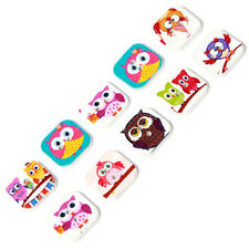 500pcs Wholesale Mixed Color Cartoon Owl Patterns Square Wooden Buttons Sewing C