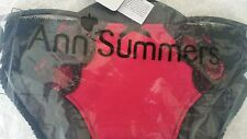 Ann SummersCharlotte Black & Red  Briefs Size 12 New With Tgas In Packet