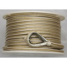 3/8 Inch x 200 Ft Gold and White Double Braid Nylon Anchor Line for Boats