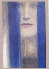 Khnopff•A Blue Veil 1909•Symbolist•Art Deco•Beautiful Woman•4x6 Art Postcard