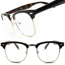 Tortoise Vintage Retro Fashionable Clubmaster Mens Womens Clear Lens Glasses B17