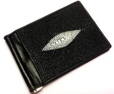 Genuine Stingray Wallets Skin Leather Bifold Money Clip Men's Black