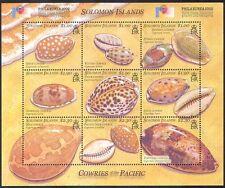 Solomons 2002 Sea Shells/Cowries/Marine/Nature/Philakorea/Stampex 9v sht (s659)