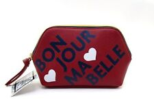 "SAL & JO's COSMETIC BAG MAKEUP CASE ~ RED ~ ""BON JOUR MA BELLE"" HELLO MY PRETTY"