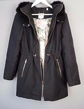 Ted Baker RUYE parka jacket coat black fur hood SIZE 3 UK 12