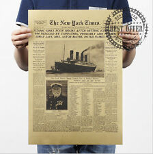 Poster Vintage Retro Wall Art Home Office Titanic History Newspaper 20x14""