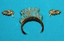 Holiday Hostess BARBIE Happy New Year GOLD Leaf Earrings & TIARA