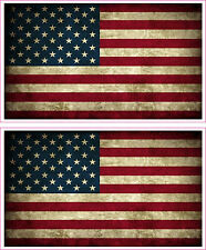 American Flag Distressed Vinyl Sticker Decal x 2