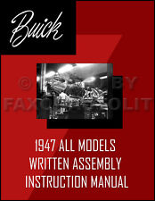 Buick Assembly Manual 1947-1946-42 Written Instructions Special Super Roadmaster