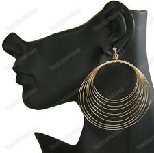 "3""BIG CLIP ON HOOP EARRINGS concentric GOLD FASHION wire coil hoops CLIPS"