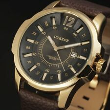 CURREN Men's Cool Military Sport Quartz Analog Genuine Leather Strap Wrist Watch