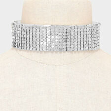"14"" silver 2"" Wide choker bib collar necklace basketball wives"
