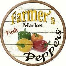 Farmers Market Fresh Peppers Metal Novelty Round Circular Sign