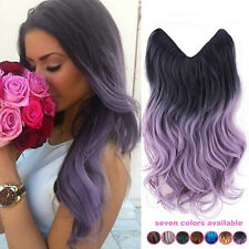 "Black Purple to Powdery Violet 20"" Ombre Flip In Secret Wire Hair Extensions HOT"