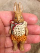 "ANTIQUE MINIATURE Hertwig Bisque Wire Jointed BOY Rabbit  ROMPER 1900s 2.75"" NR"