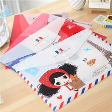 """""""Cute Girl"""" File Folder Pack of 4 Cute 1 Layer A4 Size Study Paper Document Bag"""