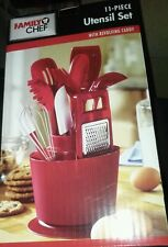 11 pcs Red Family Chef Kitchen Utensils w/ Revolving Holder Caddy Set