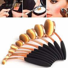 10Pcs NEW Oval Cream Rose Gold Makeup Brushes Set & Foundation Kabuki Toothbrush