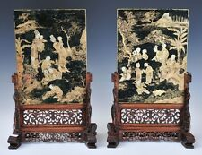 A Pair Qing Dynasty Gilt-Painted Spinach Jade Table Screen with Hardwood Stands.