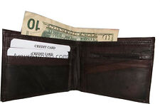 Leather man's brown wallet 6 credit card space zip change purse Sued interior bn
