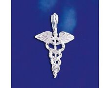 Sterling Silver Caduceus Symbol Pendant Medical Sign Alchemy Solid 925 Italy New