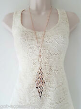 "Beautiful 32"" long ROSE GOLD tone layered heart pendant & chain necklace *NEW 83"