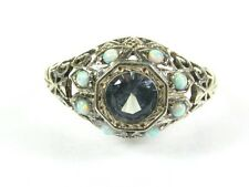 .50ct Aquamarine & Seed Pearl Victorian Art Deco Sterling Filigree Ring 122b