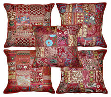 5pc Indian Bohemian Pillow Patchwork Pillow Ethnic Cushion Covers Hippie Pillows