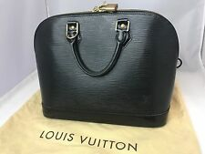 LOUIS VUITTON Black Epi Leather Alma PM Top Handle Handbag GUARANTEED AUTHENTIC