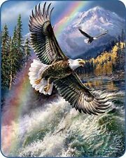 "79""x96"" Queen Size Eagle Rainbow Nature Scene Mink Blanket Super Plush Fleece"