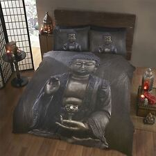 METALLIC BUDDHA BLACK GREY SILVER SUPER KING SIZE COTTON BLEND DUVET COVER
