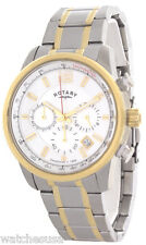 Rotary Mens White Dial Stainless Steel Bracelet Chronograph Watch GB00423/02