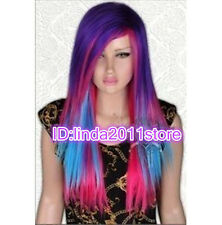 Sexy Lady girl Purple Red blue mixed Bright rainbow Cosplay party wigs / wig