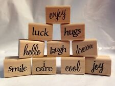 I Care SMILE hugs JOY luck DREAM laugh COOL hello word sentiment Rubber Stamps
