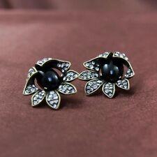 Boucles d`Oreilles Clous Puces Fleur Cristal Noir Retro Ancien Mariage NN 1