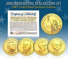 2008 U.S. MINT 24K GOLD PRESIDENTIAL $1 DOLLAR COINS * COMPLETE SET OF 4 *