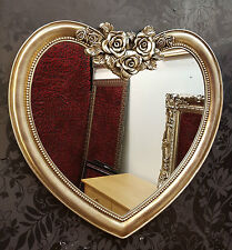 Heart Shape Wall Mirror Ornate  French Engrved Rose 88x84cm Champagne Silver P28