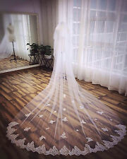 21v Elegant 3m Bridal Embroidered Lace Work Edge Ivory Wedding Veil w Comb