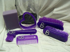 Kids Childs Horse Pony Grooming Kit Bag Set Brush Curry Comb Red Purple Green