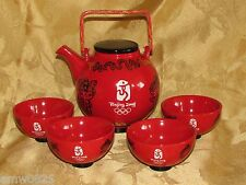 2008 BEIJING OLYMPICS TEA SET MASCOT FUWA RED LANTERN LICENCED NIB GIFT TEAPOT