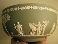 wedgwood bowl green made in england green jasperware vintage 8 inches old