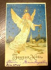 FANTAISIE PERE NOEL. CHRISTMAS GREETINGS. ANGE. CARTE POSTALE AUTHENTIQUE.