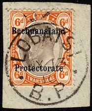 Bechuanaland 6d Postal Fiscal SG F1 1910 used Transvaal RARE South Africa