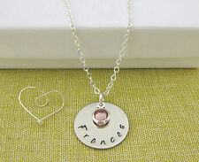 Child's Personalised Hand Stamped Name Pendant and Birthstone Necklace Gift