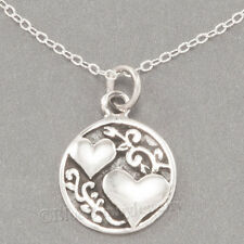 """Two Hearts SISTERS script friends Charm Pendant STERLING SILVER 18"""" Necklace 925"""