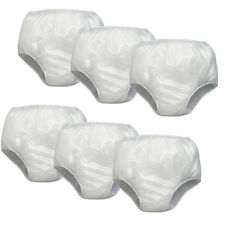 NEW (Set of 6) Incontinence Pull On Under Pants MD - Waterproof Soft Vinyl White