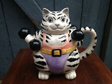 Mary Ann Baker for Otagiri Japan Body Builder Black White Striped Cat Tea Pot