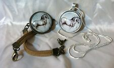 SET MICHAELANGELO Drawing GLASS DOME HORSE PENDANT & GLASS DOME HORSE BRACELET